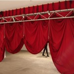D.I.A (rig detail), 2011. Installation with donkey, theatre curtains, pulleys, weights, rig and ropes. Dimensions variable. Photograph by Dara Gill.