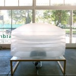 Untitled (Dropsheet Inflatable #1), 2012. Installation with welded plastic, black paint, timber frame, floor fan. Dimensions variable.