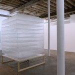 Untitled (dropsheet inflatable #3), 2012. Installation with welded plastic, timber frame, floor fan. Dimensions variable. Photo by Alex Wisser.